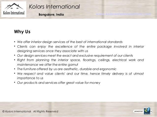 Interior Design Services In Bangalore Kolors International