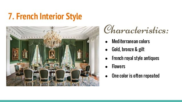 Interior design styles for French country architecture characteristics