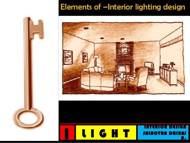 Elements of –Interior lighting design 1 INTERIOR DESIGN SALHOTRA DHIRAJ N.L I G H T