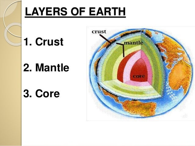 LAYERS OF EARTH 1. Crust 2. Mantle 3.