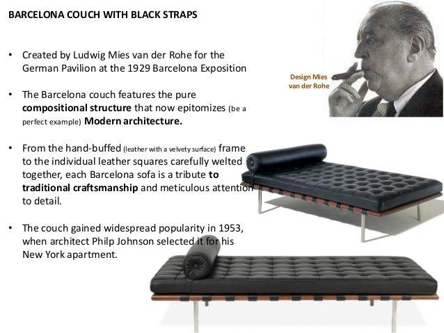Design Mies Van Der Rohe 1929 Barcelona Couch; 21.