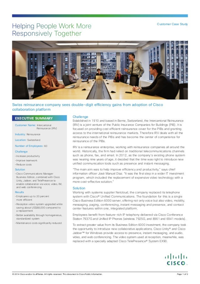 Helping People Work More Responsively Together  Customer Case Study  Swiss reinsurance company sees double-digit efficienc...