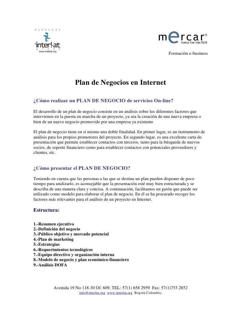 Formación e-business                            Plan de Negocios en Internet  ¿Cómo realizar un PLAN DE NEGOCIO de servici...