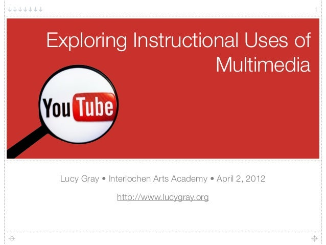 Exploring Instructional Uses of Multimedia Lucy Gray • Interlochen Arts Academy • April 2, 2012 http://www.lucygray.org 1