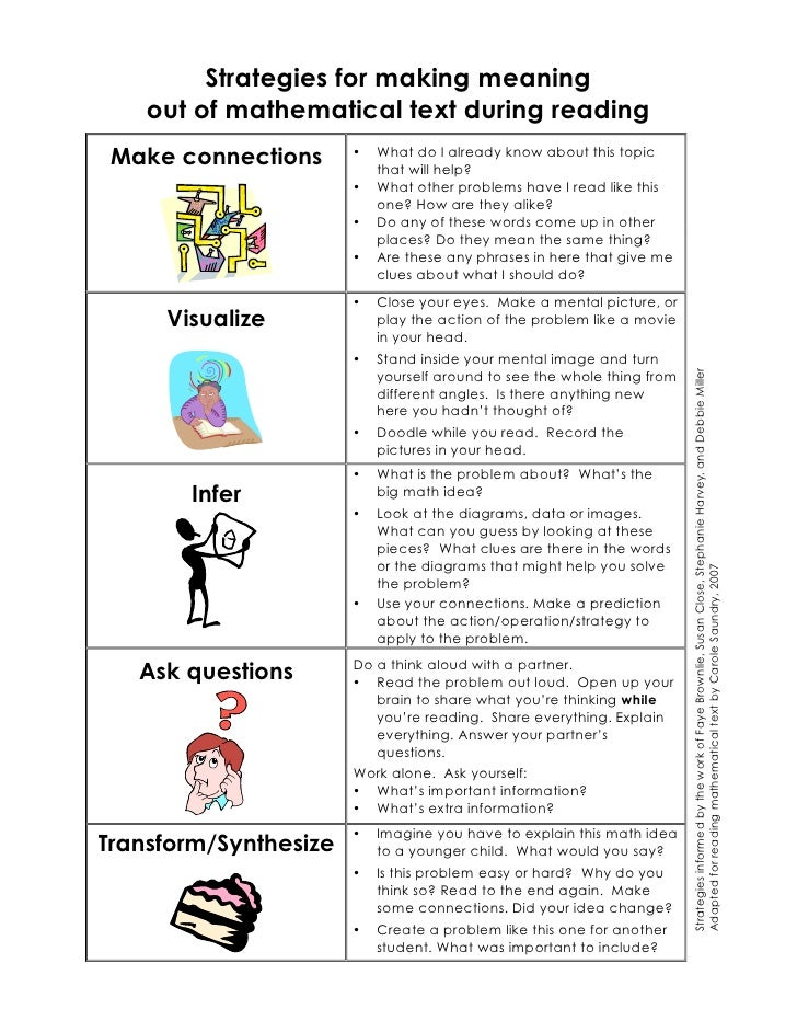 Strategies for making meaning    out of mathematical text during reading Make connections      •   What do I already know ...