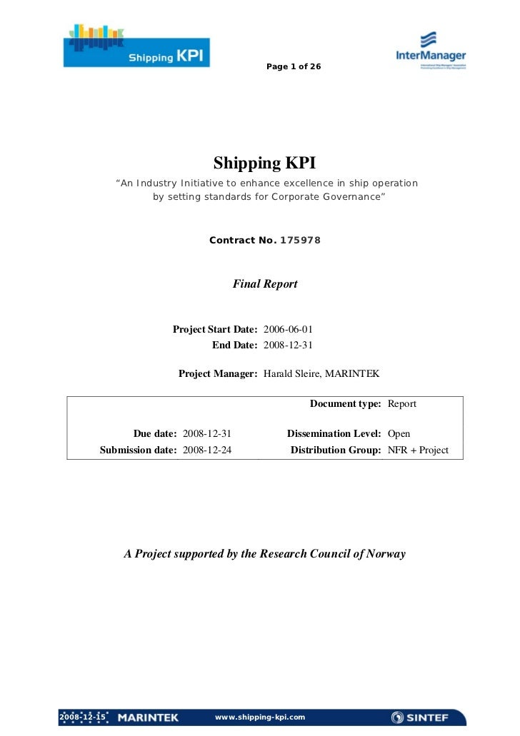 """Page 1 of 26                                 Shipping KPI             """"An Industry Initiative to enhance excellence in shi..."""