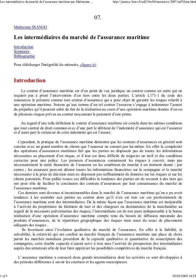 07. Maïmouna DIANGO Les intermédiaires du marché de l'assurance maritime Introduction Sommaire Bibliographie Pour téléchar...