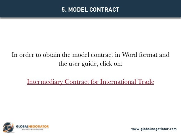 INTERMEDIARY CONTRACT FOR INTERNATIONAL TRADE Contract Template and – Trade Agreement Template