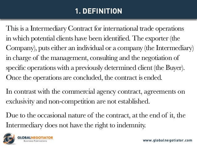Intermediary Contract For International Trade  Contract Template And