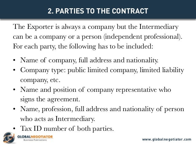 INTERMEDIARY CONTRACT FOR INTERNATIONAL TRADE Contract Template and – Trading Agreement Template