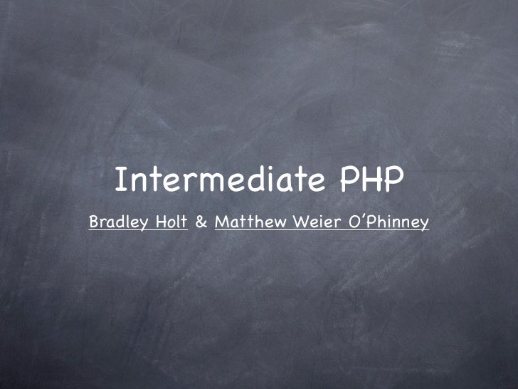 Intermediate PHP