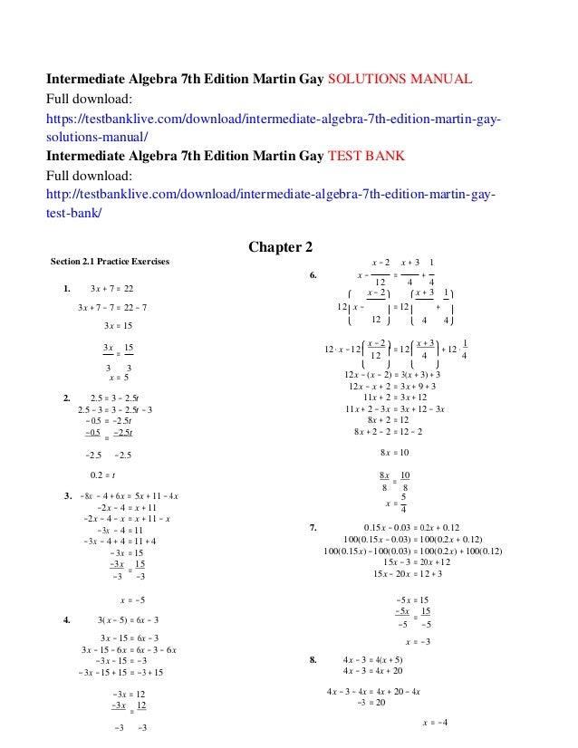 Intermediate algebra 7th edition martin gay solutions manual intermediate algebra 7th edition martin gay solutions manual full download httpstestbanklive fandeluxe Images
