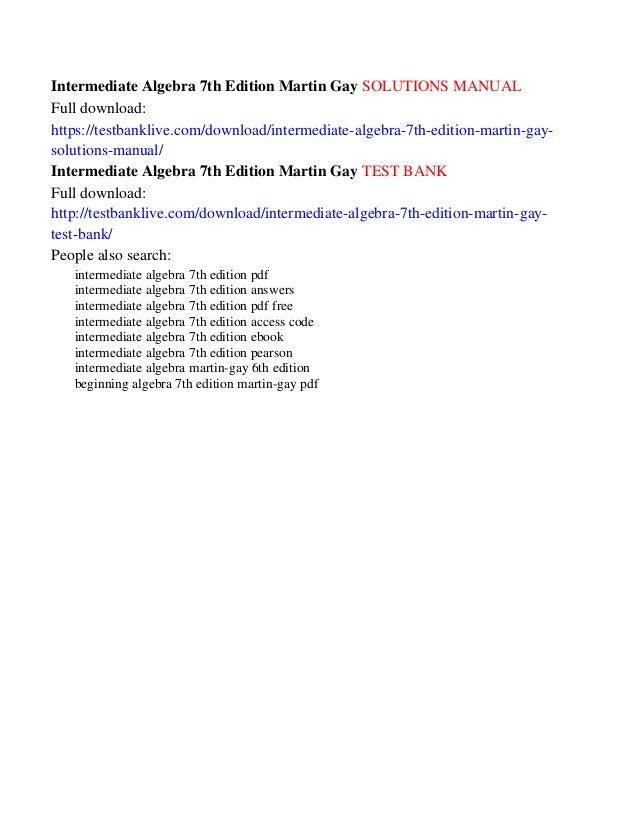 Intermediate algebra 7th edition martin gay solutions manual intermediate algebra 7th edition fandeluxe Images