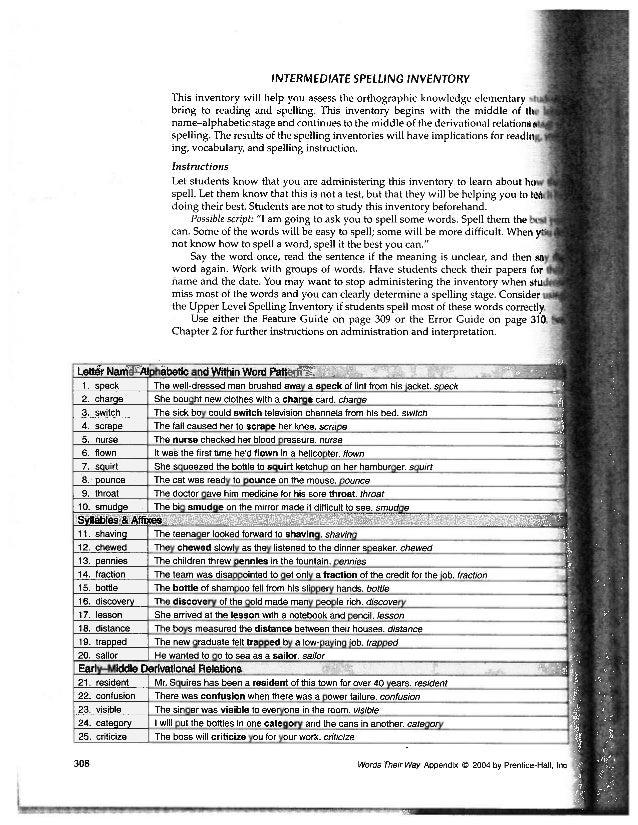 Intermediate spelling inventory