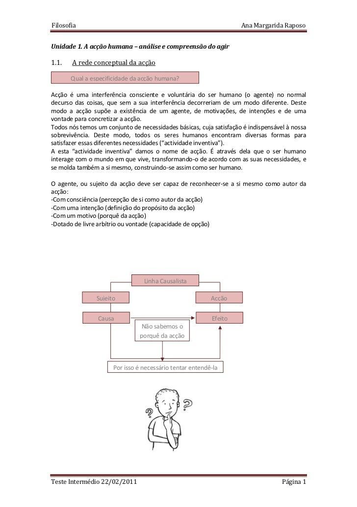 Filosofia                                                           Ana Margarida RaposoUnidade 1. A acção humana – anális...