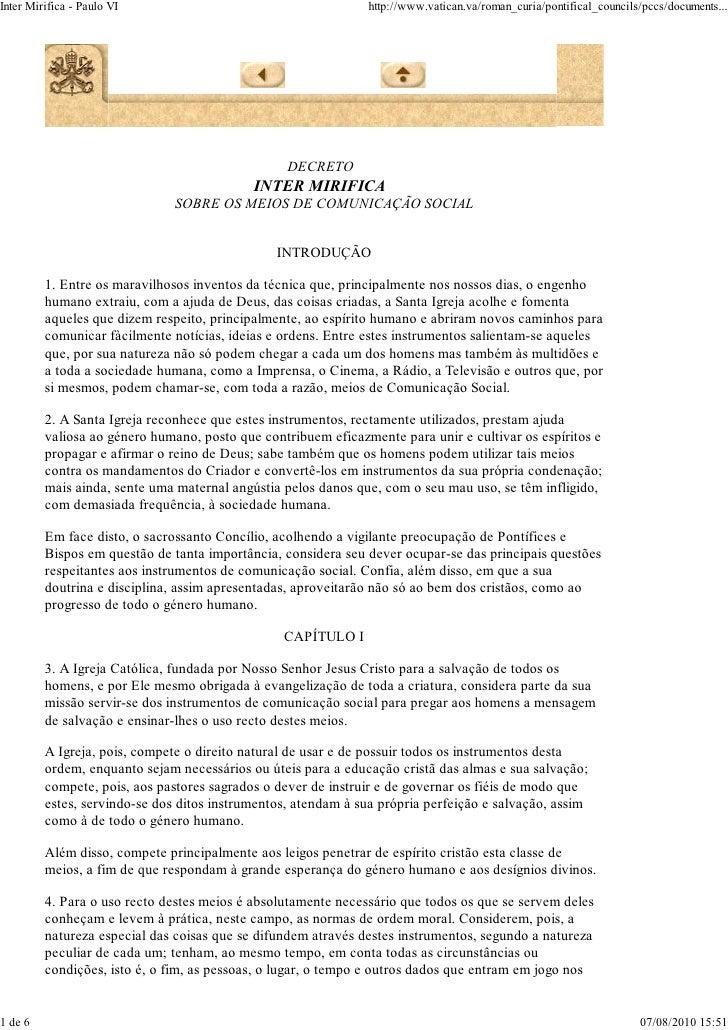 Inter Mirifica - Paulo VI                                      http://www.vatican.va/roman_curia/pontifical_councils/pccs/...