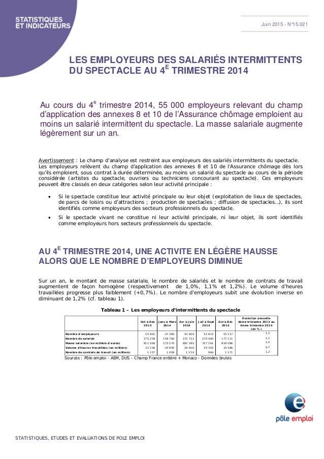 STATISTIQUES, ETUDES ET EVALUATIONS DE POLE EMPLOI LES EMPLOYEURS DES SALARIÉS INTERMITTENTS DU SPECTACLE AU 4E TRIMESTRE ...