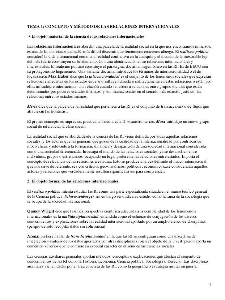 TEMA 1: CONCEPTO Y MÉTODO DE LAS RELACIONES INTERNACIONALES• El objeto material de la ciencia de las relaciones internacio...