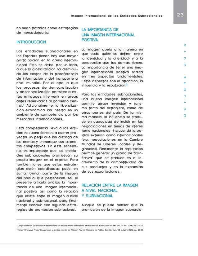 Imagen Internacional de las Entidades Subnacionales 25  O C T U B R E 2 0 1 4  gen subnacional debe ir más allá  de una es...