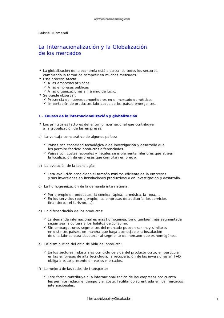 www.estoesmarketing.comGabriel OlamendiLa Internacionalización y la Globalizaciónde los mercadosi La globalización de la e...