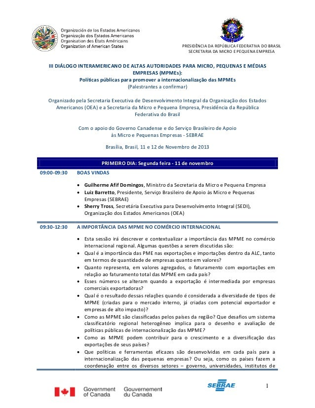 PRESIDÊNCIA DA REPÚBLICA FEDERATIVA DO BRASIL SECRETARIA DA MICRO E PEQUENA EMPRESA  III DIÁLOGO INTERAMERICANO DE ALTAS A...