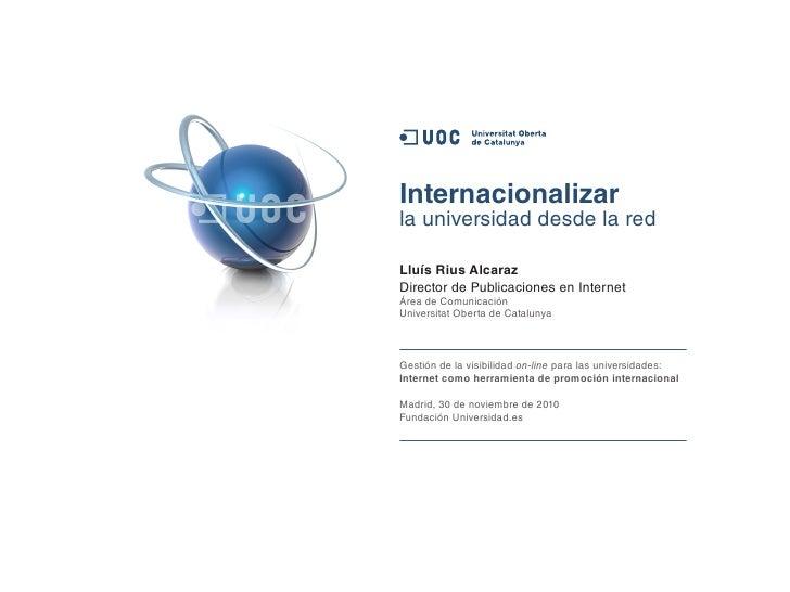 Internacionalizar la universidad desde internet. LLUIS RIUS