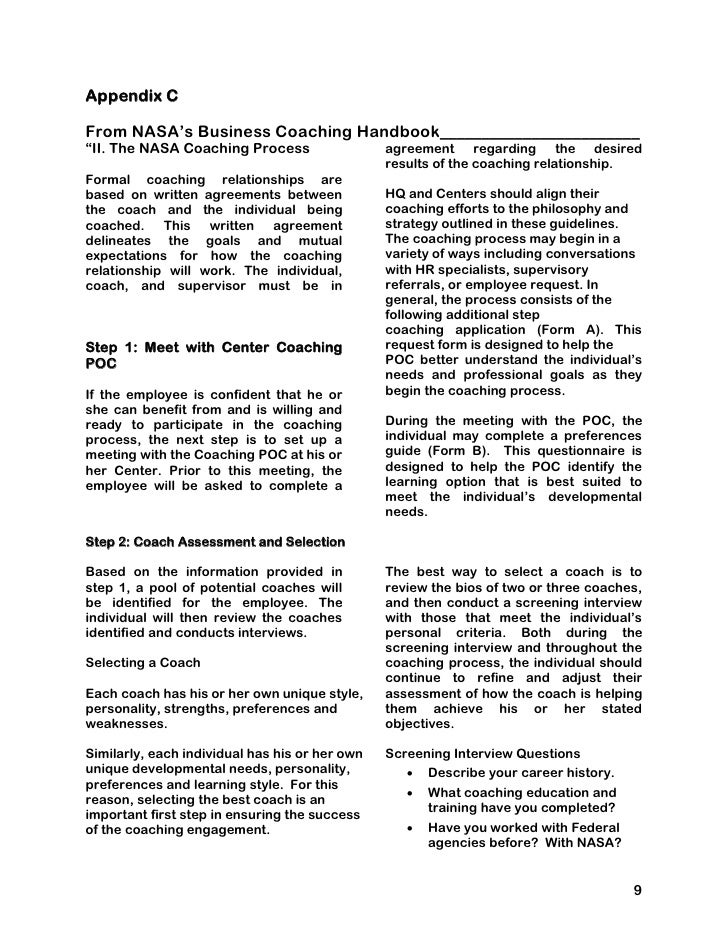 Nice 9; 13. Appendix C From NASAu0027s Business Coaching  Handbook________________________ U201c ...