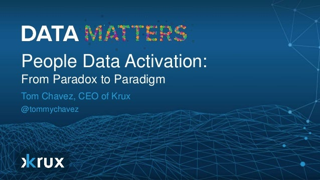 © 2015 People Data Activation: From Paradox to Paradigm Tom Chavez, CEO of Krux @tommychavez