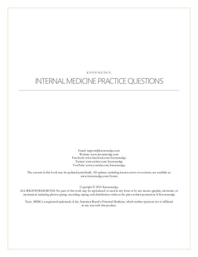 Internal Medicine Practice Questions for ABIM Exam / NBME Internal Me…