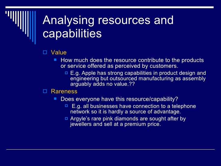 resources and capabilities examples