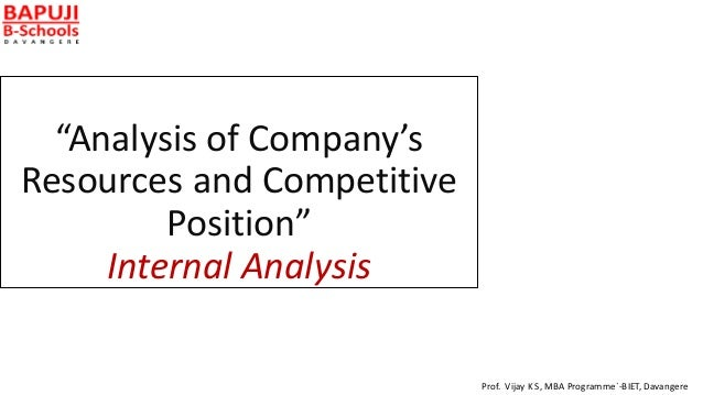 """""""Analysis of Company's Resources and Competitive Position"""" Internal Analysis Prof. Vijay K S, MBA Programme`-BIET, Davange..."""