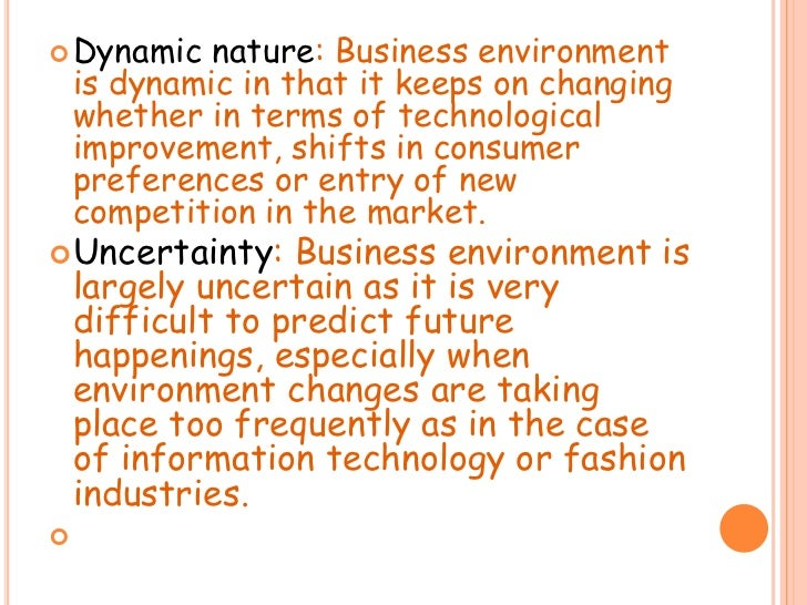 What are the main Components of the Environment?
