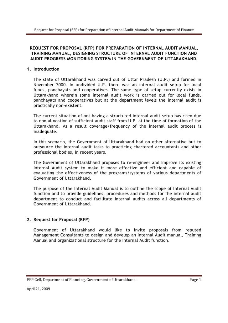 Request for Proposal (RFP) for Preparation of Internal Audit Manuals for Department of Finance     REQUEST FOR PROPOSAL (R...