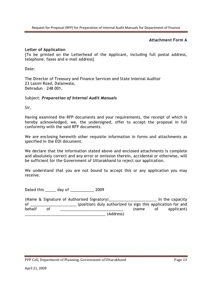Internal audit proposal