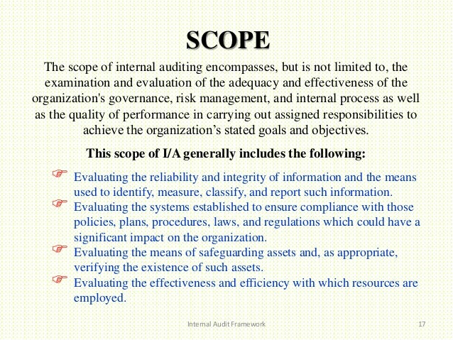 internal audit scope template internal audit framework
