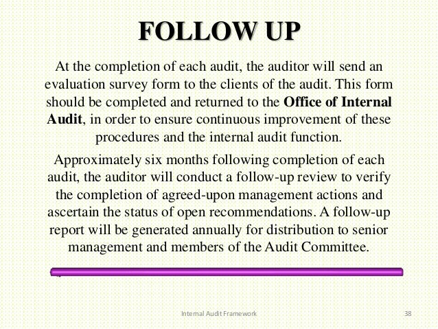 Internal audit framework for Audit follow up template