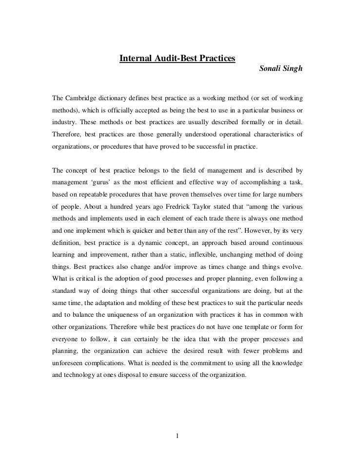 Internal Audit-Best Practices                                                                              Sonali SinghThe...