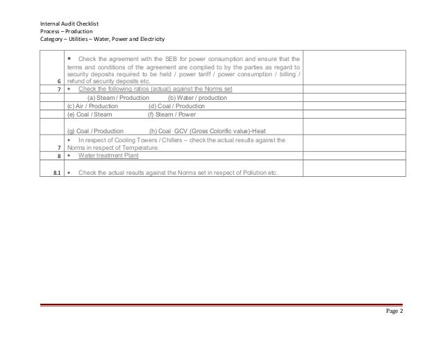 Internal Audit Checklist Process Production Category Utilities water …
