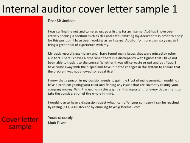 Internal Auditor Cover Letter