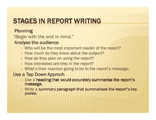 stages in writing a report
