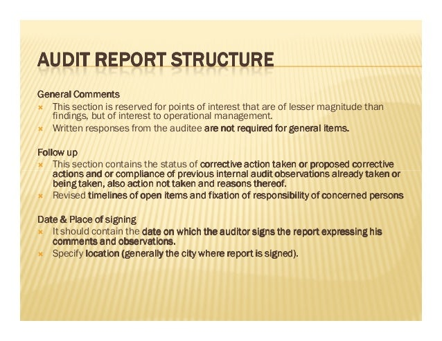 Internal Audit Report Writing