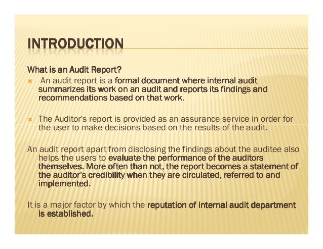 Internal Audit Report WritingPdf
