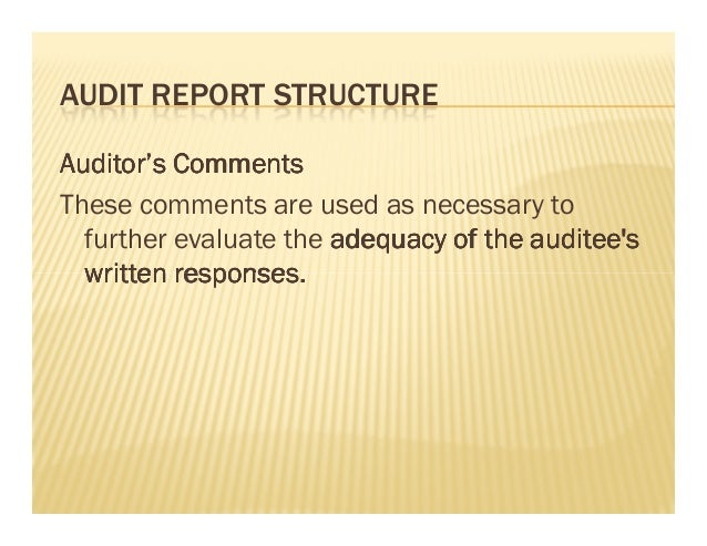 audit report writing books And not that of internal audit 15 this report has been prepared solely for the use by the management of the department of xxxxx we do not.