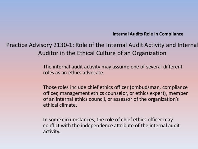 Internal audits role in compliance - Ethics and compliance officer association ...