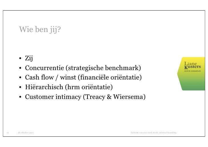 Wie ben jij?      •    Zij      •    Concurrentie (strategische benchmark)      •    Cash flow / winst (financiële oriënta...