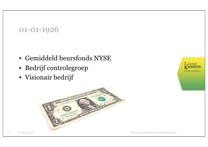 01-01-1926      • Gemiddeld beursfonds NYSE      • Bedrijf controlegroep      • Visionair bedrijf23   26 oktober 2011     ...