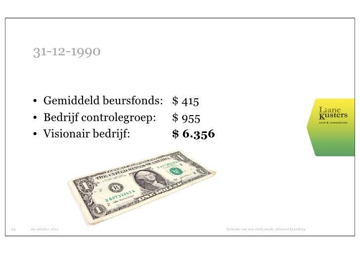 31-12-1990      • Gemiddeld beursfonds: $ 415      • Bedrijf controlegroep: $ 955      • Visionair bedrijf:     $ 6.35624 ...