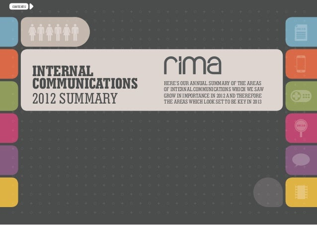 CONTENTS           Internal           communications   Here's our annual summary of the areas                            o...