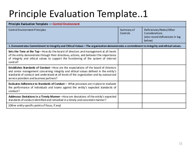 Internal control and control self assessment 10 11 principle evaluation template1 accmission Choice Image