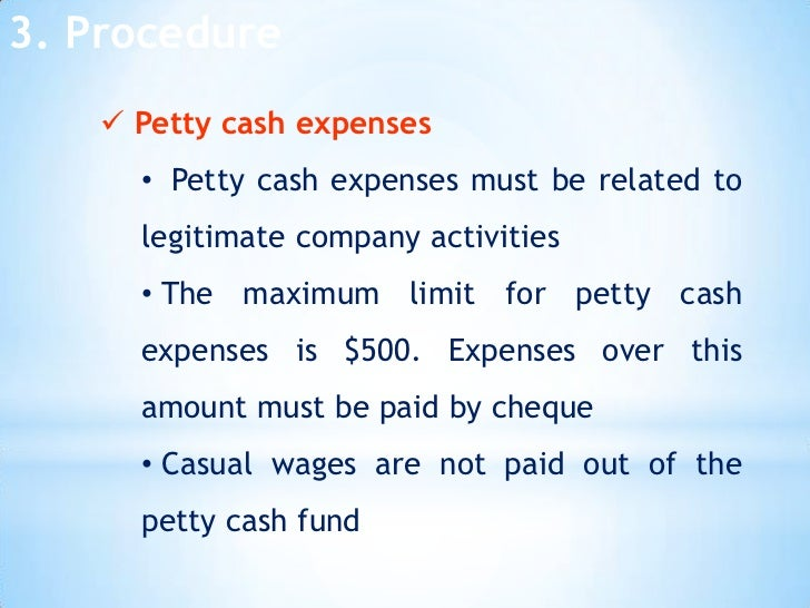 petty cash process Petty cash can be used to make payroll payments to employees when there would be an undue delay processing the payments through the normal payroll process refer to saam sub section.